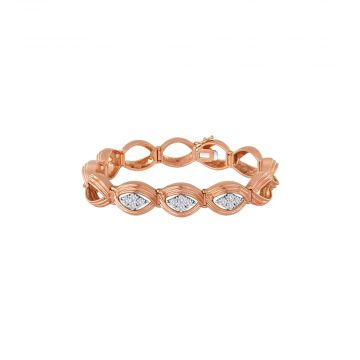 14k Rose Gold Diamond Oval Link Bracelet