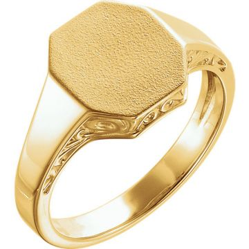 14k Yellow Gold Men's Scroll Signet Ring