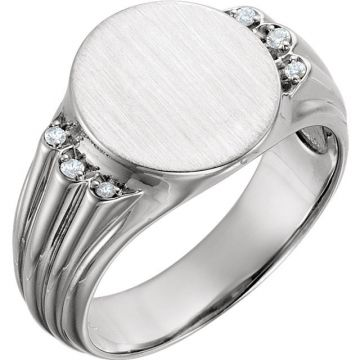 14k White Gold Diamond Men's Oval Signet Ring