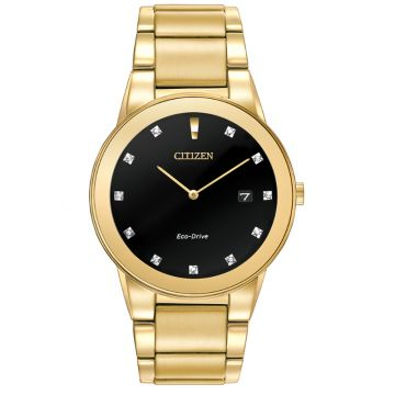 Citizen Eco-Drive Axiom Stainless Steel Gold-Tone 40mm Men's Diamond Watch