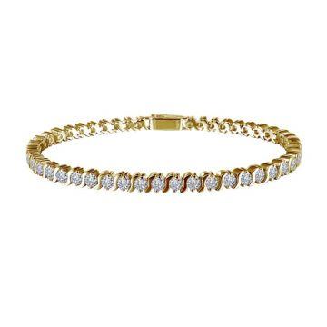 Lafonn Classic Yellow Sterling Silver Diamond Tenni Bracelet