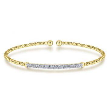 Gabriel & Co. 14k Yellow Gold Bujukan Diamond Bangle Bracelet