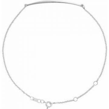 """Sterling Silver Curved Bar 6 1/2-7 1/2"""" Bracelet"""