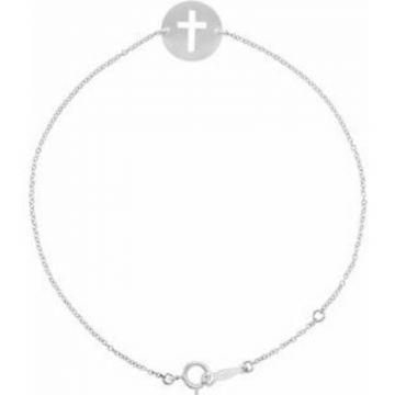 """Sterling Silver Pierced Cross Disc 7-8"""" Bracelet"""