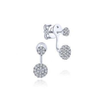 Gabriel & Co. 14k White Gold Lusso Diamond Peek A Boo Earrings