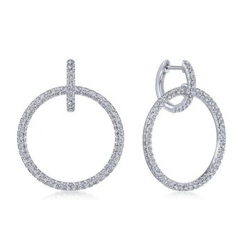 Gabriel & Co. 14k White Gold Lusso Diamond Huggie Earrings