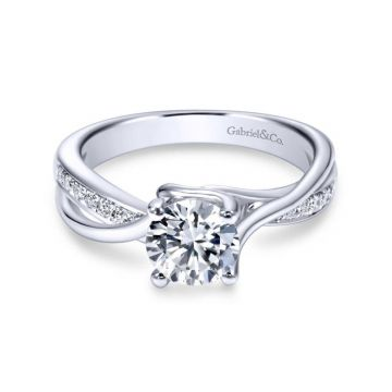 Gabriel & Co. 14k White Gold Contemporary Bypass Engagement Ring