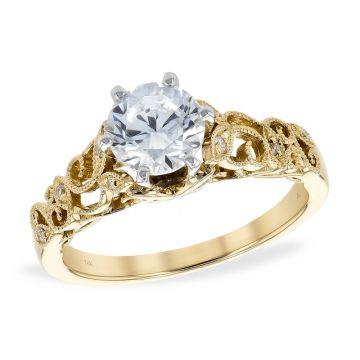 Allison Kaufman 14k Yellow Gold Vintage Semi-Mount Engagement Ring