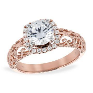 Allison Kaufman 14k Rose Gold Diamond Halo Semi-Mount Engagement Ring