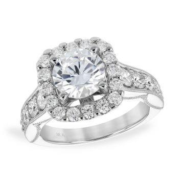 Allison Kaufman 14k White Gold Diamond Halo Semi-Mount Engagement Ring