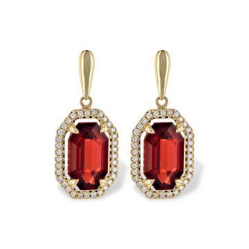 Allison Kaufman 14k Yellow Gold Gemstone & Diamond Drop Earrings