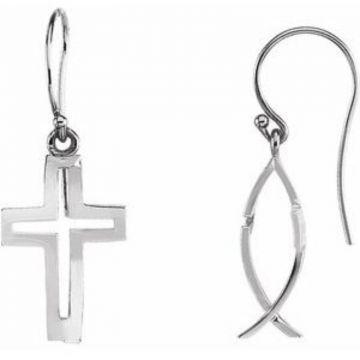 Sterling Silver CrossFish Earrings