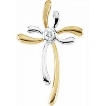 14K Yellow & White 1/10 CTW Diamond Cross Pendant