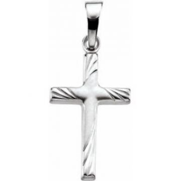 14K White 17.5x12 Cross Pendant