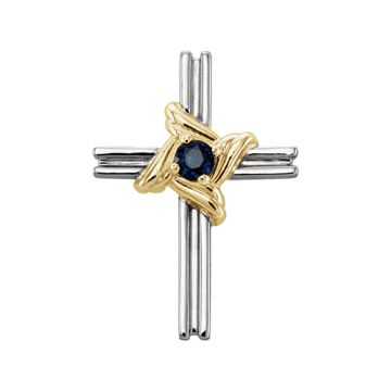 14k White & Yellow Blue Sapphire Cross Pendant