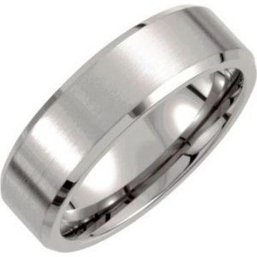 Titanium 7 mm Beveled-Edge Band with Satin Finish Size 7