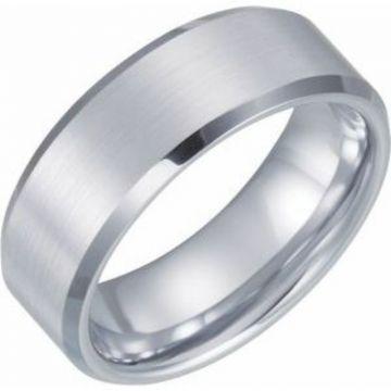 White Tungsten 8 mm Satin & Beveled-Edge Band Size 7