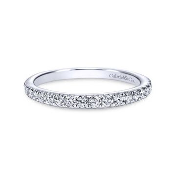 Gabriel & Co. 14k White Gold Contemporary Diamond Wedding Band