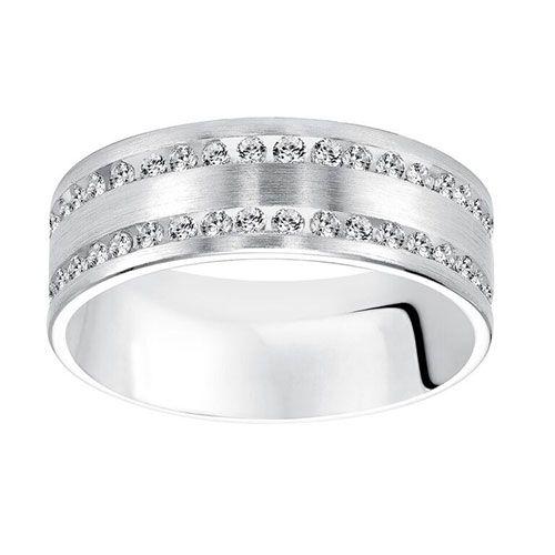 Goldman 18k White Gold Men S Diamond Wedding Band Roth Jewelers