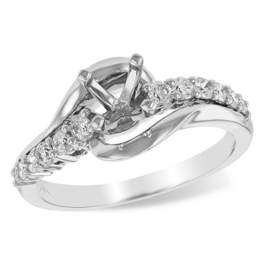 Allison Kaufman 14k White Gold Diamond Bypass Semi-Mount Engagement Ring
