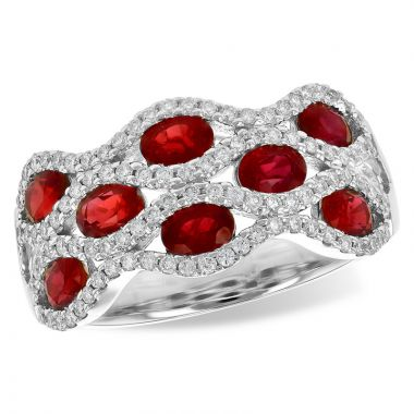 Allison Kaufman 14k White Gold Diamond & Gemstone Ring