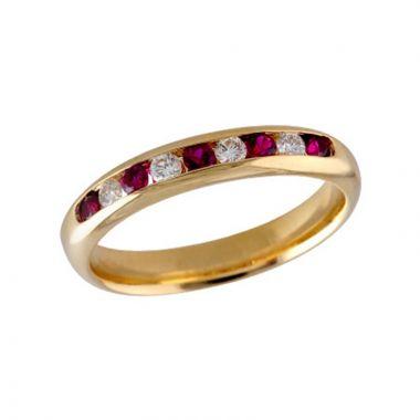 Allison Kaufman 14k Yellow Gold Gemstone & Diamond Wedding Band