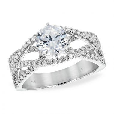 Allison Kaufman 14k White Gold Diamond Free Form Semi-Mount Engagement Ring
