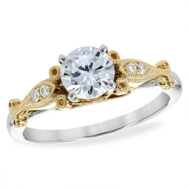 Allison Kaufman Two Tone 14k Gold Diamond Vintage Semi-Mount Engagement Ring