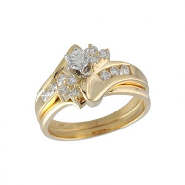 Allison Kaufman 14k Yellow Gold Diamond Bypass Bridal Set