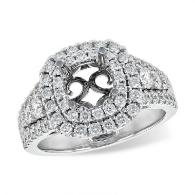 Allison Kaufman 14k White Gold Diamond Double Halo Semi-Mount Engagement Ring