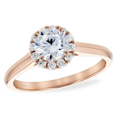 Allison Kaufman 14k Rose Gold Diamond Halo Semi-Mount Engagement Ring