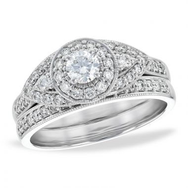 Allison Kaufman 14k White Gold Wedding Set