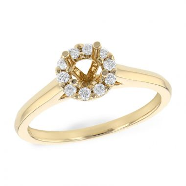 Allison Kaufman 14k Yellow Gold Diamond Halo Semi-Mount Engagement Ring