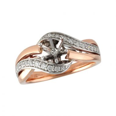 Allison Kaufman Two Tone 14k Gold Diamond Bypass Semi-Mount Engagement Ring