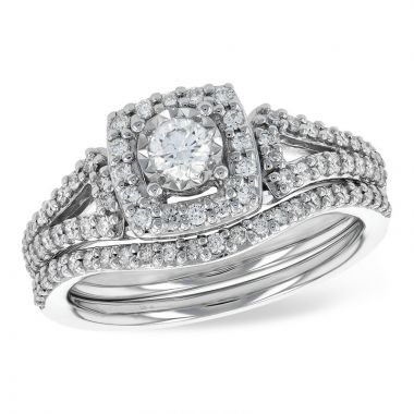 Allison Kaufman 14k White Gold Diamond Halo Bridal Set