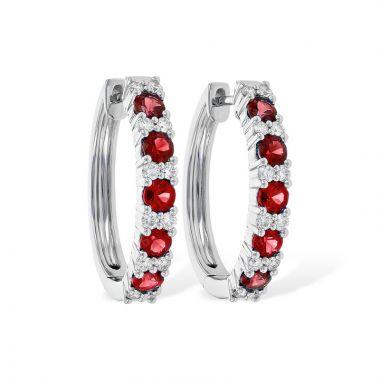 Allison Kaufman 14k White Gold Gemstone & Diamond Hoop Earrings