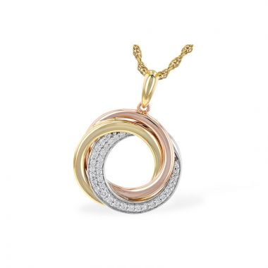 Allison Kaufman Tri Color 14k Gold Diamond Necklace