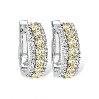 Allison Kaufman Two Tone 14k Gold Diamond Hoop Earrings
