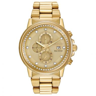 Citizen Eco-Drive Crystal Stainless Steel Gold-Tone 42mm Men's Watch