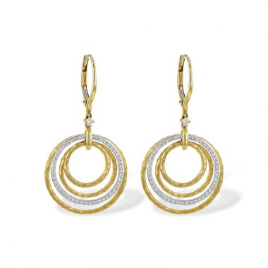 Allison Kaufman Two Tone 14k Gold Diamond Drop Earrings