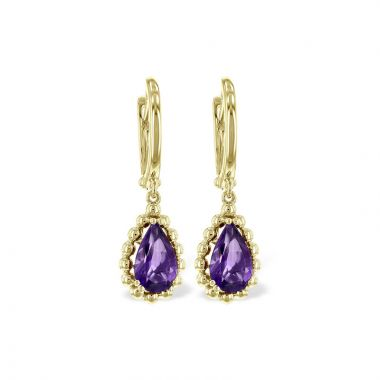 Allison Kaufman 14k Yellow Gold Gemstone Drop Earrings