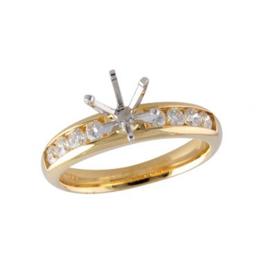 Allison Kaufman 14k Yellow Gold Diamond Straight Semi-Mount Engagement Ring