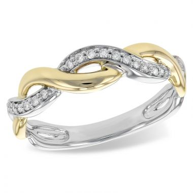Allison Kaufman Two Tone 14k Gold Twist Wedding Band