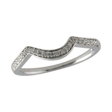 Allison Kaufman 14k White Gold Diamond Curved Wedding Band