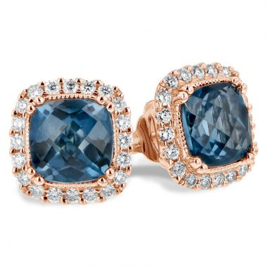 Allison Kaufman 14k Rose Gold Gemstone & Diamond Stud Earrings