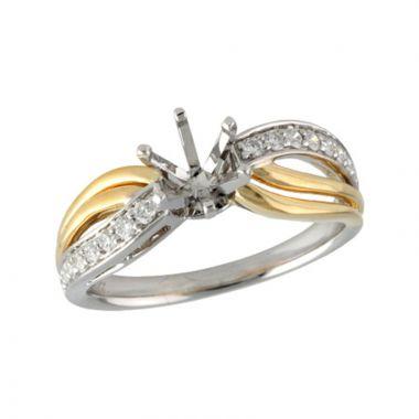 Allison Kaufman Two Tone 14k Gold Diamond Split Shank Semi-Mount Engagement Ring