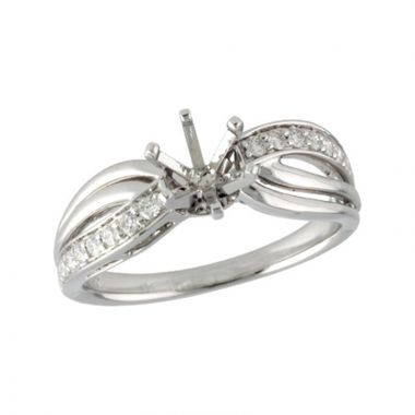 Allison Kaufman 14k White Gold Diamond Split Shank Semi-Mount Engagement Ring