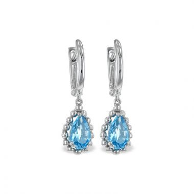 Allison Kaufman 14k White Gold Gemstone Drop Earrings